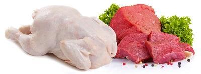 Сырые мясо и курица